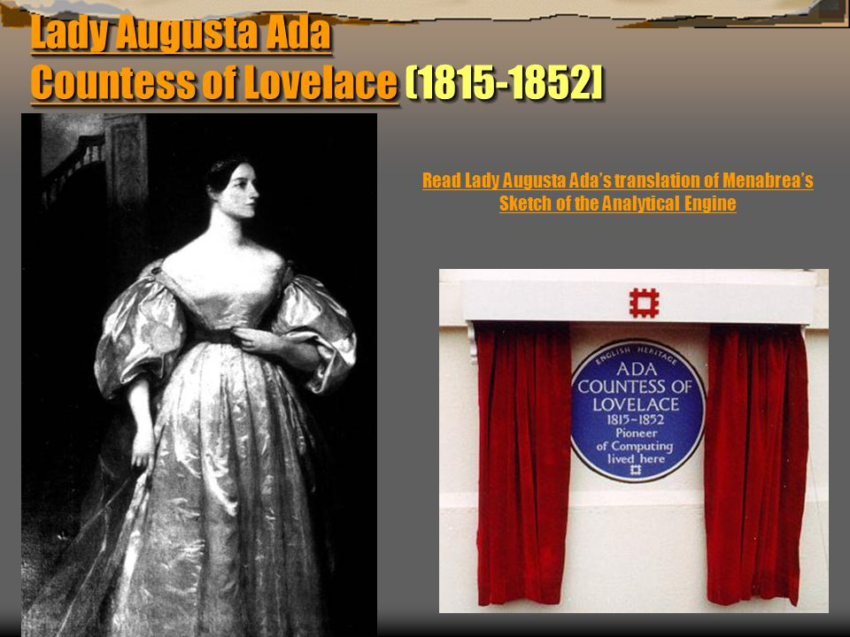 Lady Augusta Ada Countess of Lovelace (1815-1852]